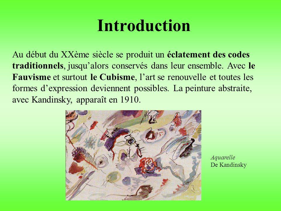 Introduction Au début du XXème siècle se produit un éclatement des codes traditionnels, jusqualors conservés dans leur ensemble.
