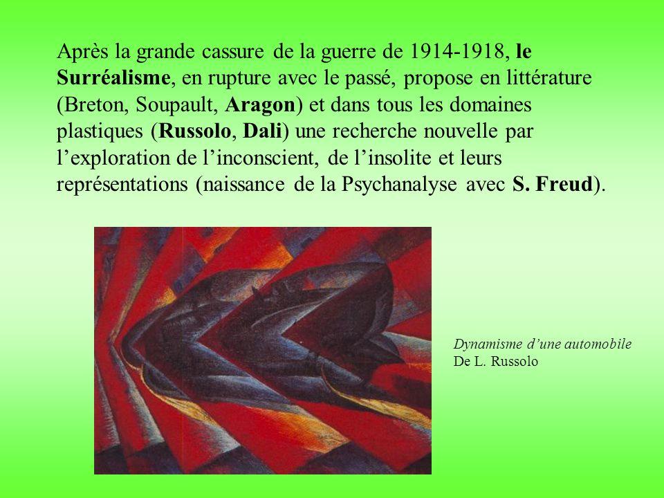 Après la grande cassure de la guerre de 1914-1918, le Surréalisme, en rupture avec le passé, propose en littérature (Breton, Soupault, Aragon) et dans