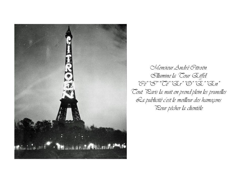 Allô, la Tour Eiffel? Passez-moi le patron! Allô, Gustave? Ici André! Ouais! J'ai décidé de démocratiser la France Faut que je te voie À trois heures?