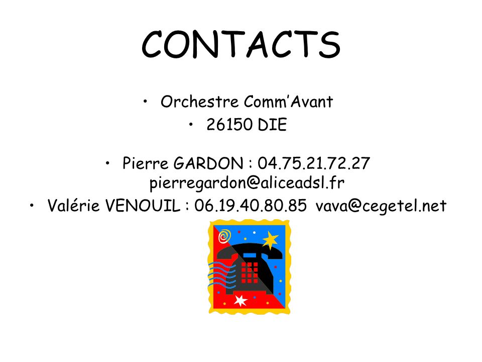 PROGRAMME TROIS PETITES NOTES DE MUSIQUE (valse) UN GAMIN DE PARIS (valse) VIVA ESPAGNA / OLE TORERO (paso doble) LA PALOMA / LA CUMPARSITA (tango) LES VOILIERS / LA PLAYA (boléro) FRIDA HUM PAPA (polka) CA GAZE (java) LE DANSEUR DE CHARLESTON (charleston) MONT AMANT DE SAINT JEAN / EMMENEZ MOI (valse) VOUS PERMETTEZ MONSIEUR / HASARDEUX (tango) BUCARO / GALLARDO (paso doble) LA BOUDEUSE / MARIN (fox-trot) PATRICIA et LA COUCARACHA (cha-cha) BESSA ME MUCHO / JE REVIENS CHEZ NOUS (boléro) PERFIDIA (boléro) LES FIANCES D AUVERGNE (valse) MON CŒUR DATTACHE (valse) AY MI SOMBRERO / TRES HERMANOS (paso doble) LA VALSE BRUNE / LA JAVA BLEUE (valse) EL CHOCLO / LE TANGO NOUS INVITE (tango) GONDOLIER (boléro) CERISIERS ROSES ET POMMIERS BLANCS (boléro) SOUS LES PONTS DE PARIS / LE DENICHEUR (valse) MORENA DE MI COPLA (paso doble) VALSES DE VIENNE / ETOILE DES NEIGES (valse) LE PETIT BAL DU SAMEDI SOIR (java)… etc… LADY LADY LADY FEMME LIBEREE TOUTE LA MUSIQUE QUE JAIME IL TAPE SUR DES BAMBOUS FOULE SENTIMENTALE SUR LA ROUTE DE MENPHIS LODI ELLE JE NE VEUX QUELLE MICHELLE MES MAINS SURTES HANCHES IT S NEVER RAINS IN SOUTHERN CALIFORNIA RIEN QUUN HOMME AS TEARS GO BY HAVE YOU EVER SEEN THE RAIN WHOLL STOP THE RAIN LA CAMARGUE TOM DOOLEY … etc… MONSIEUR CANNIBALE / SCANDALE DANS LA FAMILLE CA FAIT RIRE LES OISEAUX CEST BON POUR LE MORAL ALI BABA / AVEC LES FILLES JE NE SAIS PAS LA LECON DE TWIST VIENS BOIRE UN PTIT COUP A LA MAISON ON DANSE LE MADISON LA LAMBADA AUX CHAMPS ELYSEES POUR UN FLIRT AVEC TOI AU BAL MASQUE BA MOIN EN TIBO / SANS CHEMISE SANS PANTALON DOCANDO LAMBADA LAMERIQUE VIENS DANSER LE TWIST JIRAI TWISTER LE BLUES LE RIRE DU SERGENT DANS LES BALS POPULAIRES LA CHENILLE LINCENDIE A RIO LE PETIT BONHOMME EN MOUSSE MACUMBA OH SUZANNA… etc… Musette Variété Ambiance Pop-rock QUAND TU ES DANS LE DESERT THE ROAD TO HELL BAD MOON RISING PROUD MARY JUSQUÀ MINUIT GASTON MIRZA DA DOU RON RON LES ELUCUBRATIONS DANTOINE ON VA SAIMER LES DEMONS DE MINUIT OH WHEN THE SAINTS 