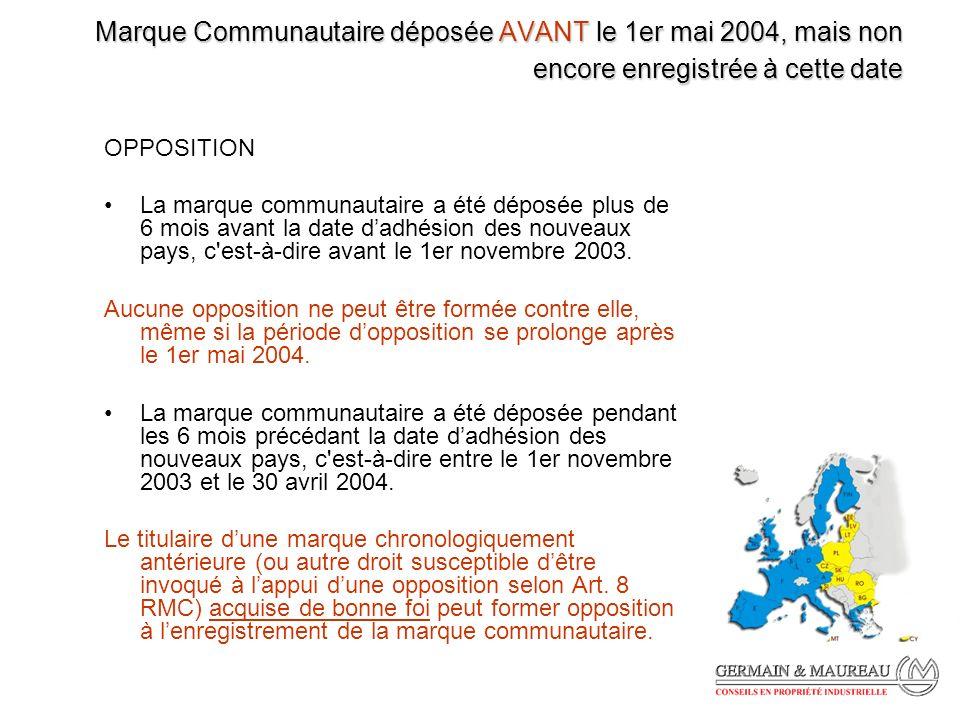 Marque Communautaire déposée AVANT le 1er mai 2004, mais non encore enregistrée à cette date OPPOSITION La marque communautaire a été déposée plus de 6 mois avant la date dadhésion des nouveaux pays, c est-à-dire avant le 1er novembre 2003.