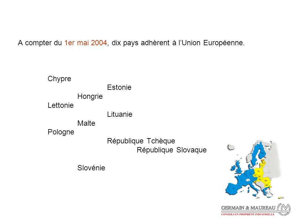 A compter du 1er mai 2004, dix pays adhèrent à lUnion Européenne.
