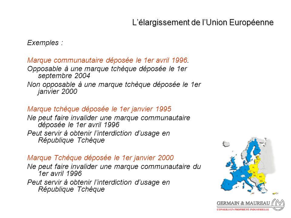 Lélargissement de lUnion Européenne Exemples : Marque communautaire déposée le 1er avril 1996.