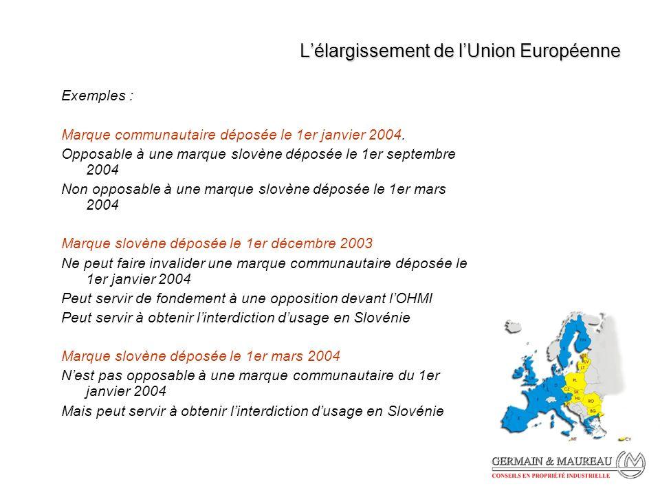 Lélargissement de lUnion Européenne Exemples : Marque communautaire déposée le 1er janvier 2004.