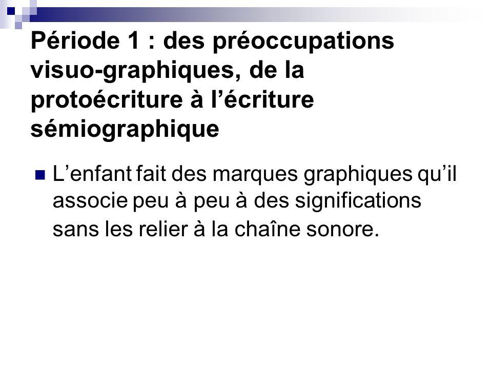Période 1 : des préoccupations visuo-graphiques, de la protoécriture à lécriture sémiographique Lenfant fait des marques graphiques quil associe peu à