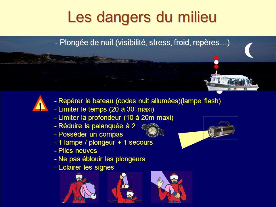 Les dangers du milieu Le courant - Le courant (changeant, marée, dérive, essoufflement) Le froid - Le froid (thermocline, fatigue, combi lâche, stress