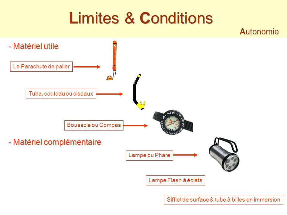 20 m (maxi) Limites & Conditions Autonomie Autonomie - 2 à 3 plongeurs Maxi Niveau 2 - Autorisation du Directeur de Plongée - Etre majeur (Entre 16 &