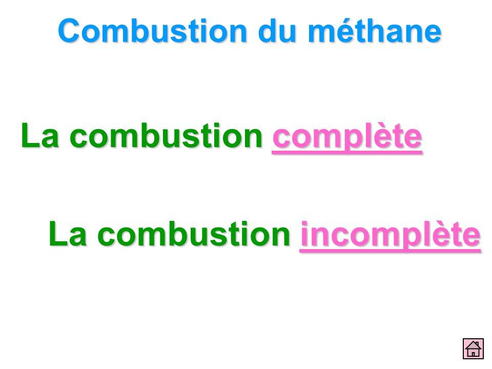 Combustion du méthane La combustion complète La combustion complète La combustion incomplète La combustion incomplète