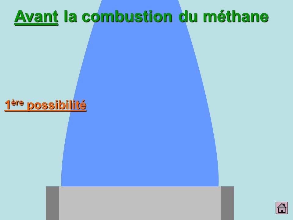 Avant la combustion du méthane 1 ère possibilité