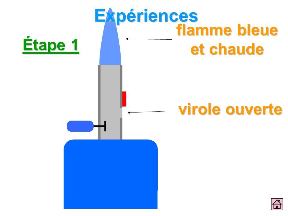 Étape 1 virole ouverte flamme bleue et chaude Expériences