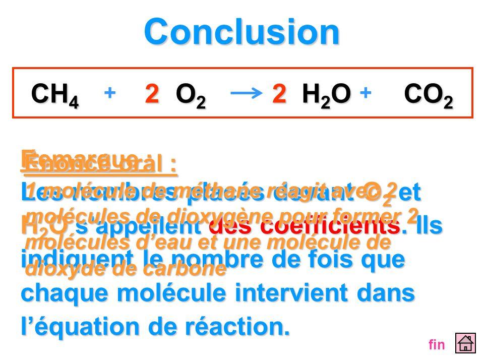 Remarque : Les nombres placés devant O2 O2 O2 O2 et H2O H2O H2O H2O sappellent sappellent des coefficients. coefficients. Ils indiquent le nombre de f