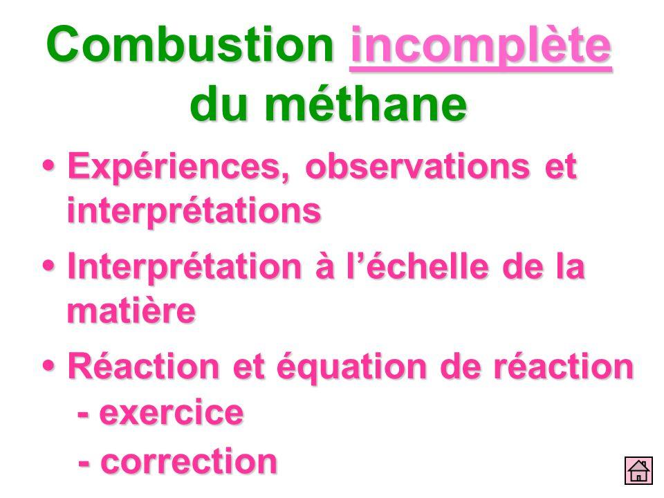 Combustion incomplète du méthane Expériences, observations et interprétations Expériences, observations et interprétations Interprétation à léchelle d
