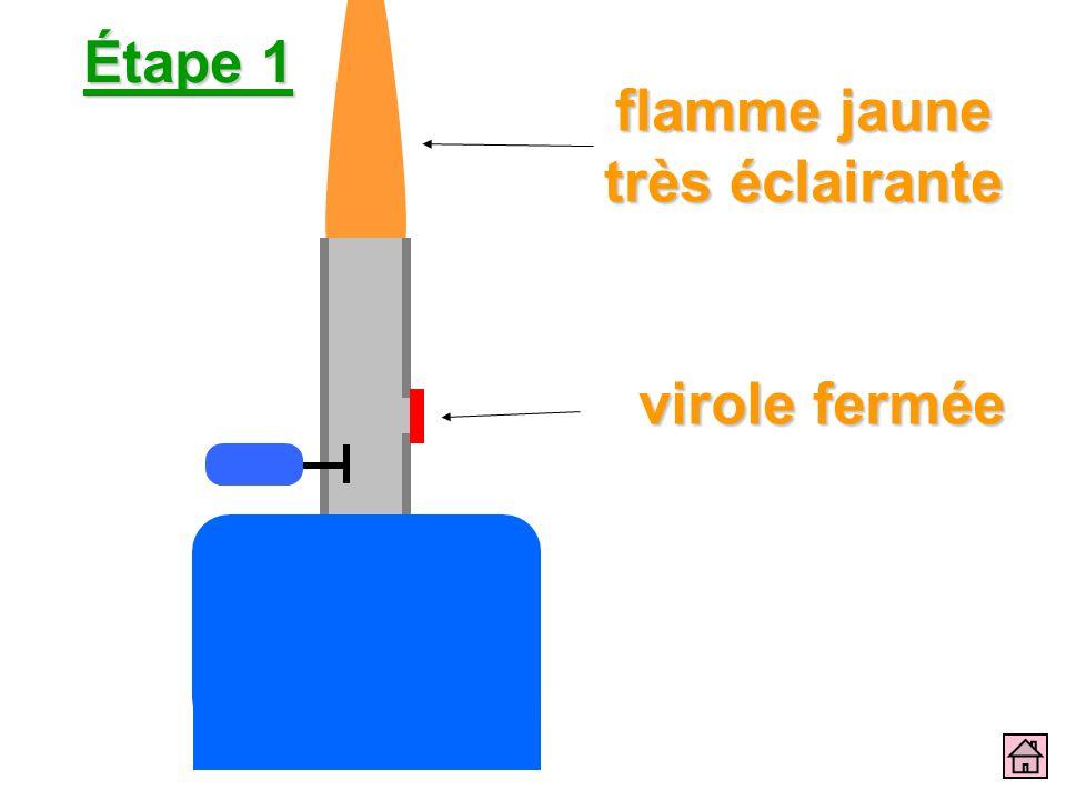 Étape 1 virole fermée flamme jaune très éclairante