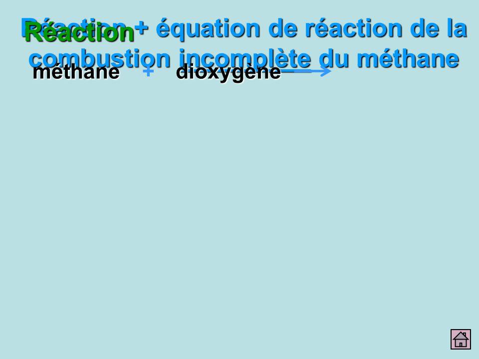 Réaction + équation de réaction de la combustion incomplète du méthane Réactionméthanedioxygène+