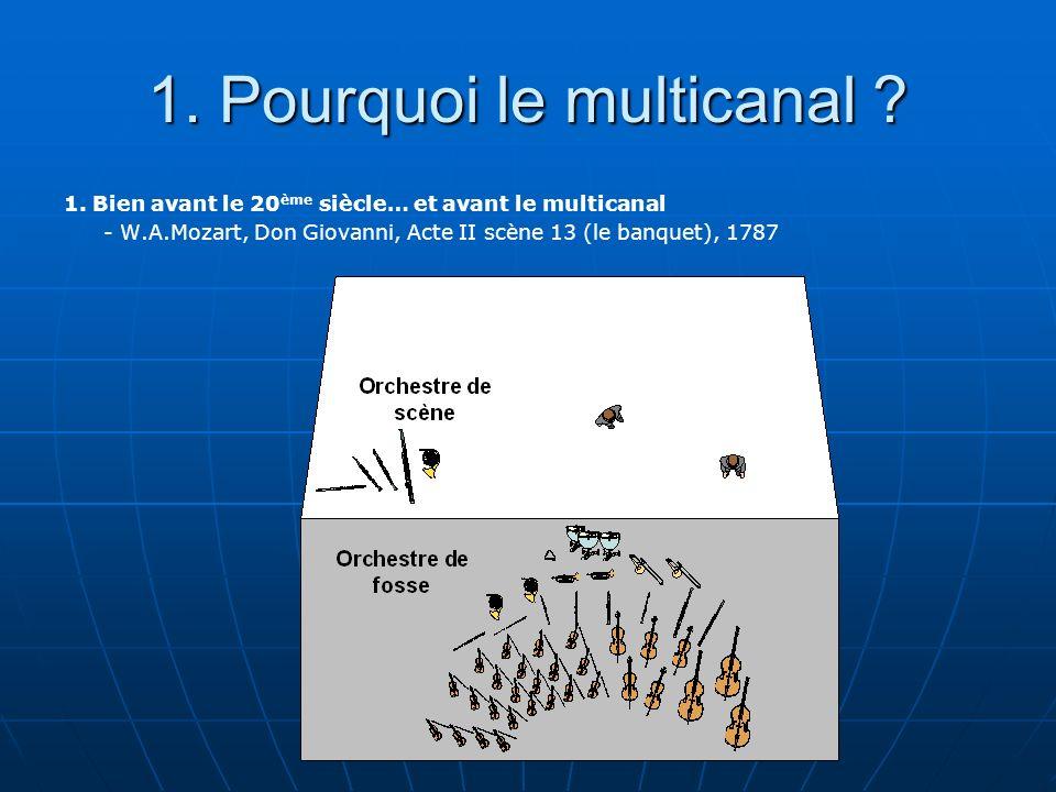 1. Pourquoi le multicanal ? 1. Bien avant le 20 ème siècle… et avant le multicanal - W.A.Mozart, Don Giovanni, Acte II scène 13 (le banquet), 1787