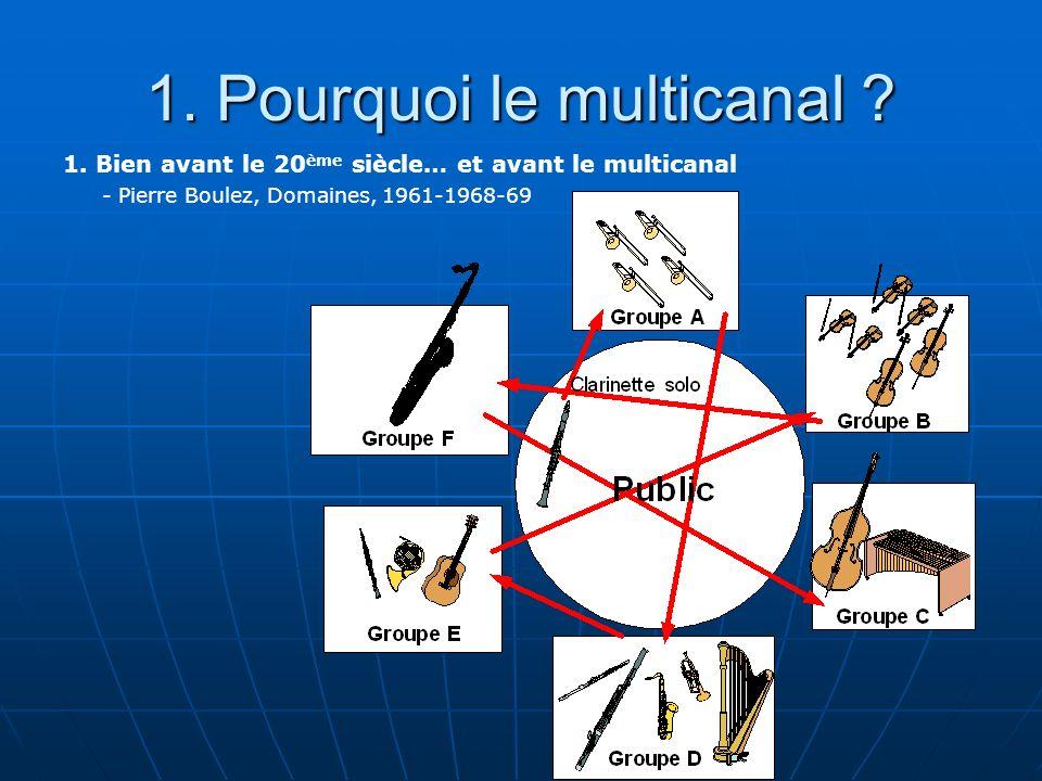1. Pourquoi le multicanal ? 1. Bien avant le 20 ème siècle… et avant le multicanal - Pierre Boulez, Domaines, 1961-1968-69
