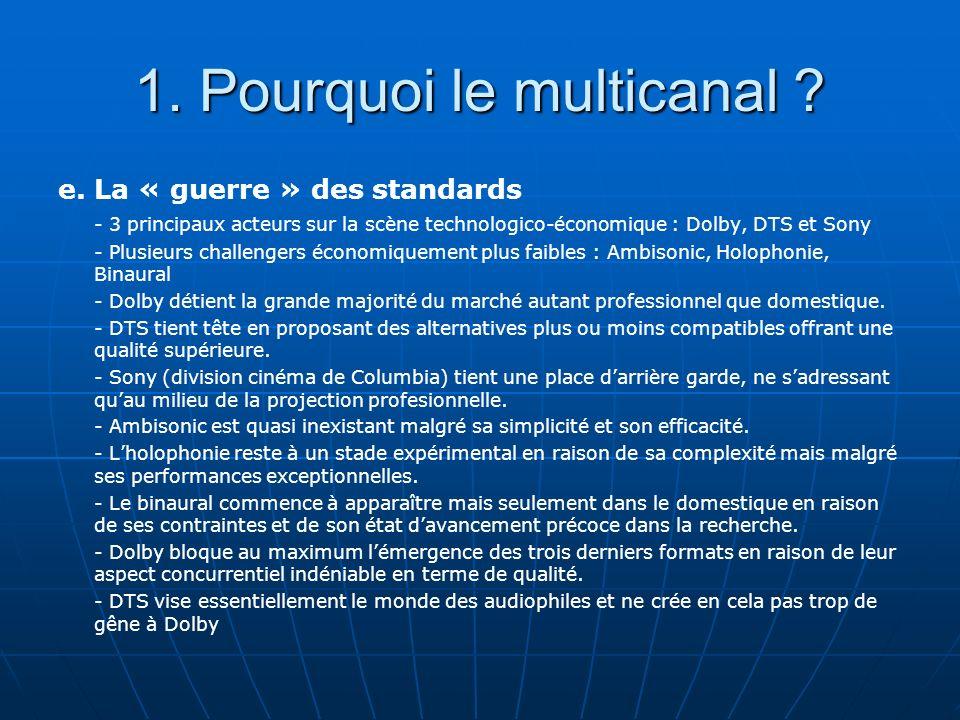 1. Pourquoi le multicanal ? e. La « guerre » des standards - 3 principaux acteurs sur la scène technologico-économique : Dolby, DTS et Sony - Plusieur