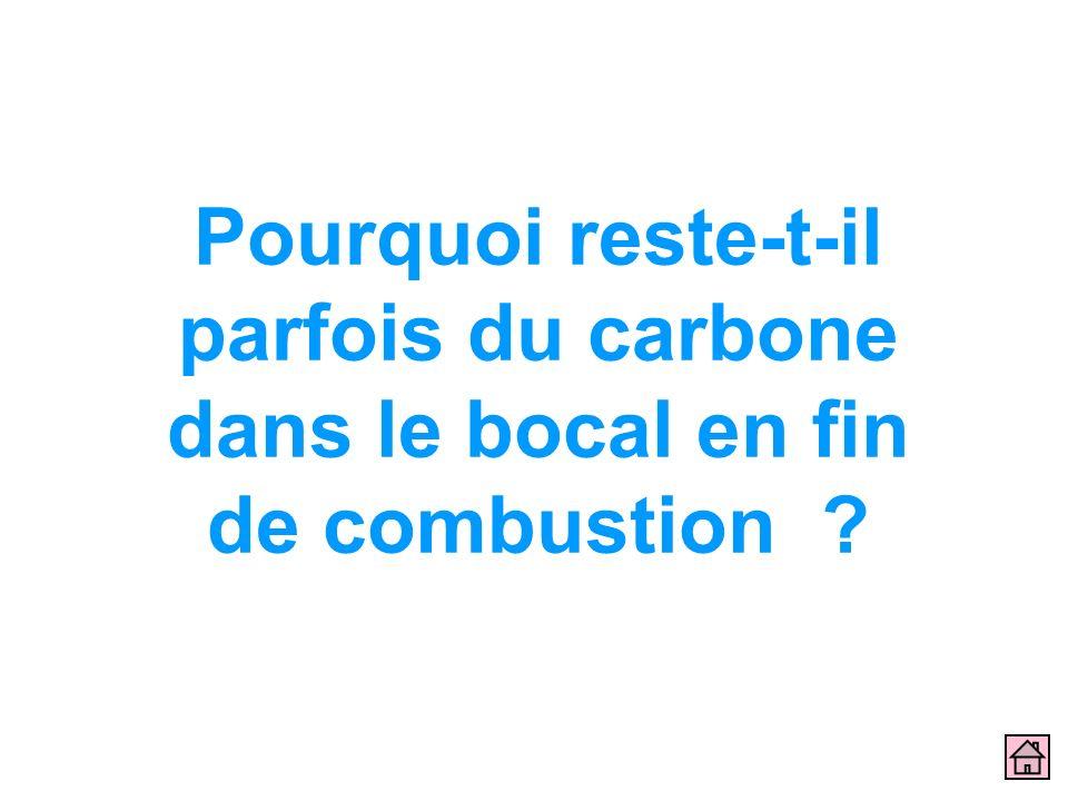 Pourquoi reste-t-il parfois du carbone dans le bocal en fin de combustion ?