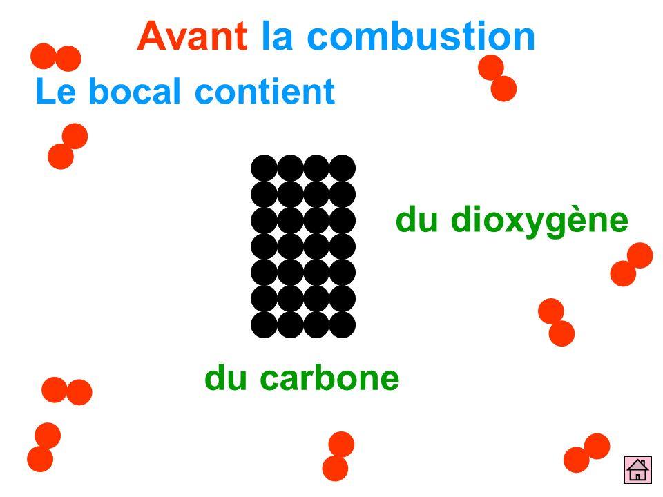Avant la combustion Le bocal contient du carbone du dioxygène