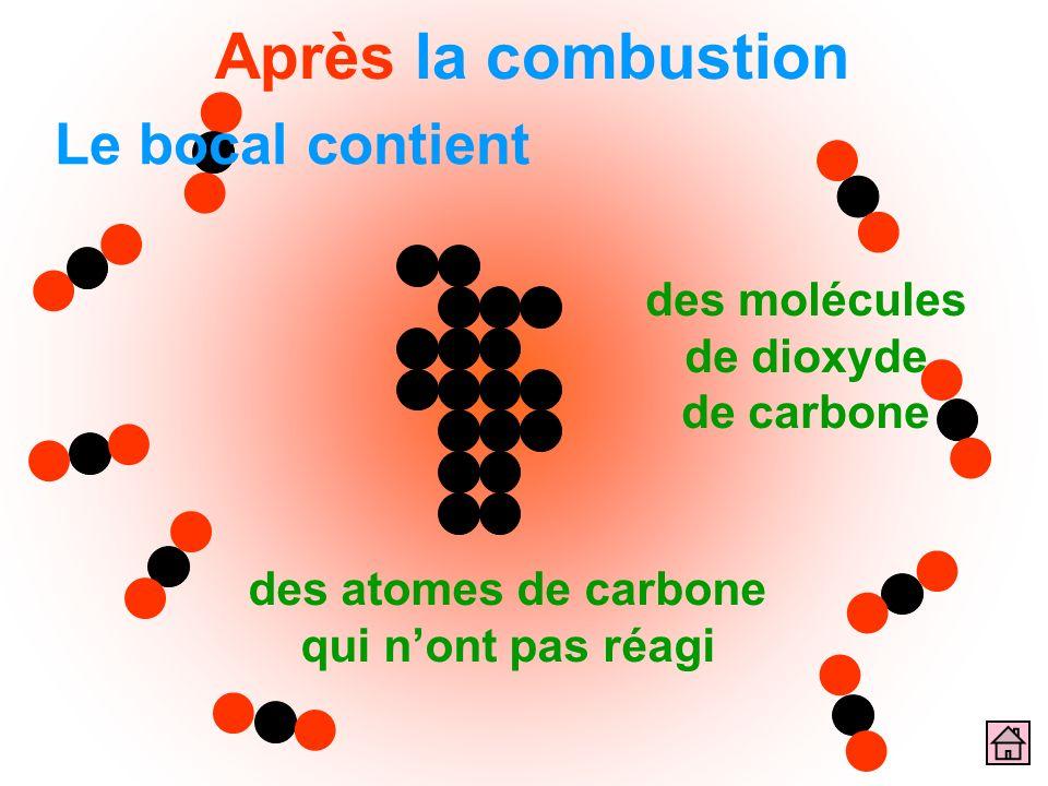 des molécules de dioxyde de carbone Le bocal contient des atomes de carbone qui nont pas réagi