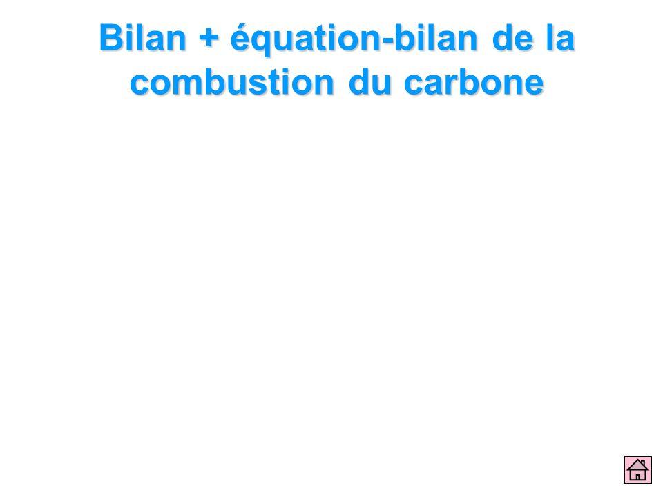 Bilan + équation-bilan de la combustion du carbone