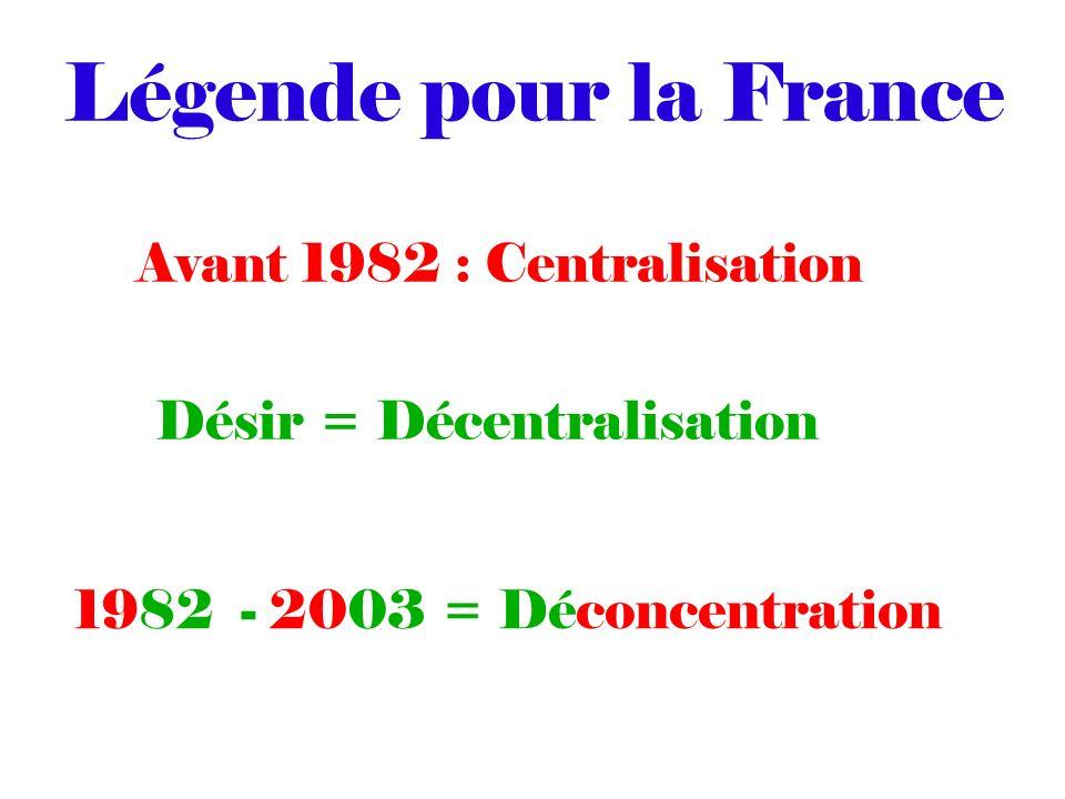 Légende pour la France Avant 1982 : Centralisation Désir = Décentralisation 1982 - 2003 = Déconcentration