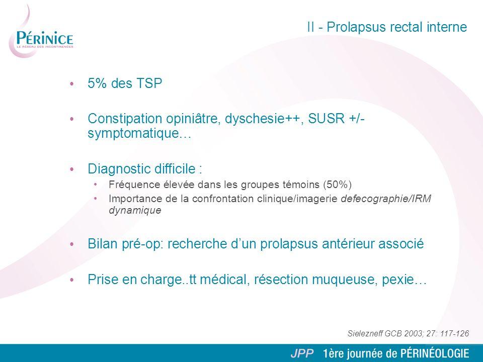 II - Prolapsus rectal interne 5% des TSP Constipation opiniâtre, dyschesie++, SUSR +/- symptomatique… Diagnostic difficile : Fréquence élevée dans les