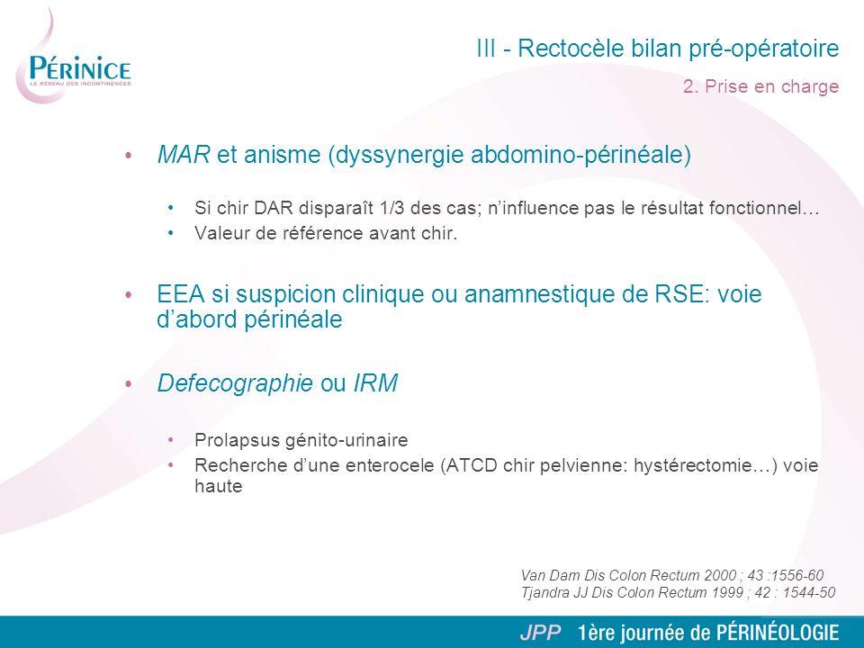 III - Rectocèle bilan pré-opératoire 2. Prise en charge MAR et anisme (dyssynergie abdomino-périnéale) Si chir DAR disparaît 1/3 des cas; ninfluence p