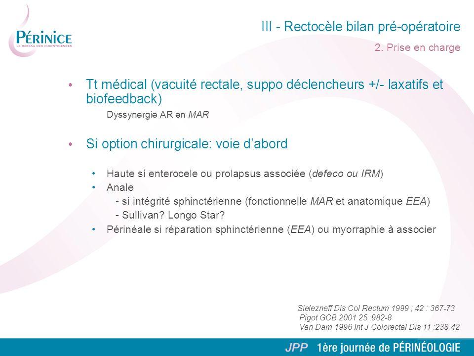 III - Rectocèle bilan pré-opératoire 2. Prise en charge Tt médical (vacuité rectale, suppo déclencheurs +/- laxatifs et biofeedback) Dyssynergie AR en