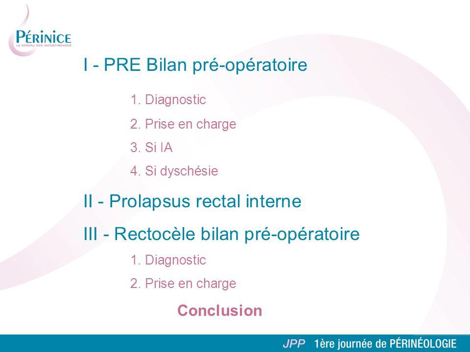 I - PRE Bilan pré-opératoire 1. Diagnostic 2. Prise en charge 3. Si IA 4. Si dyschésie II - Prolapsus rectal interne III - Rectocèle bilan pré-opérato