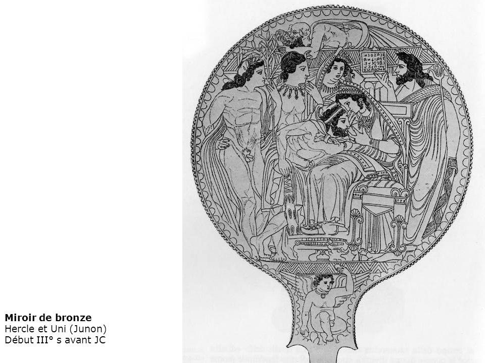 Miroir de bronze Hercle et Uni (Junon) Début III° s avant JC
