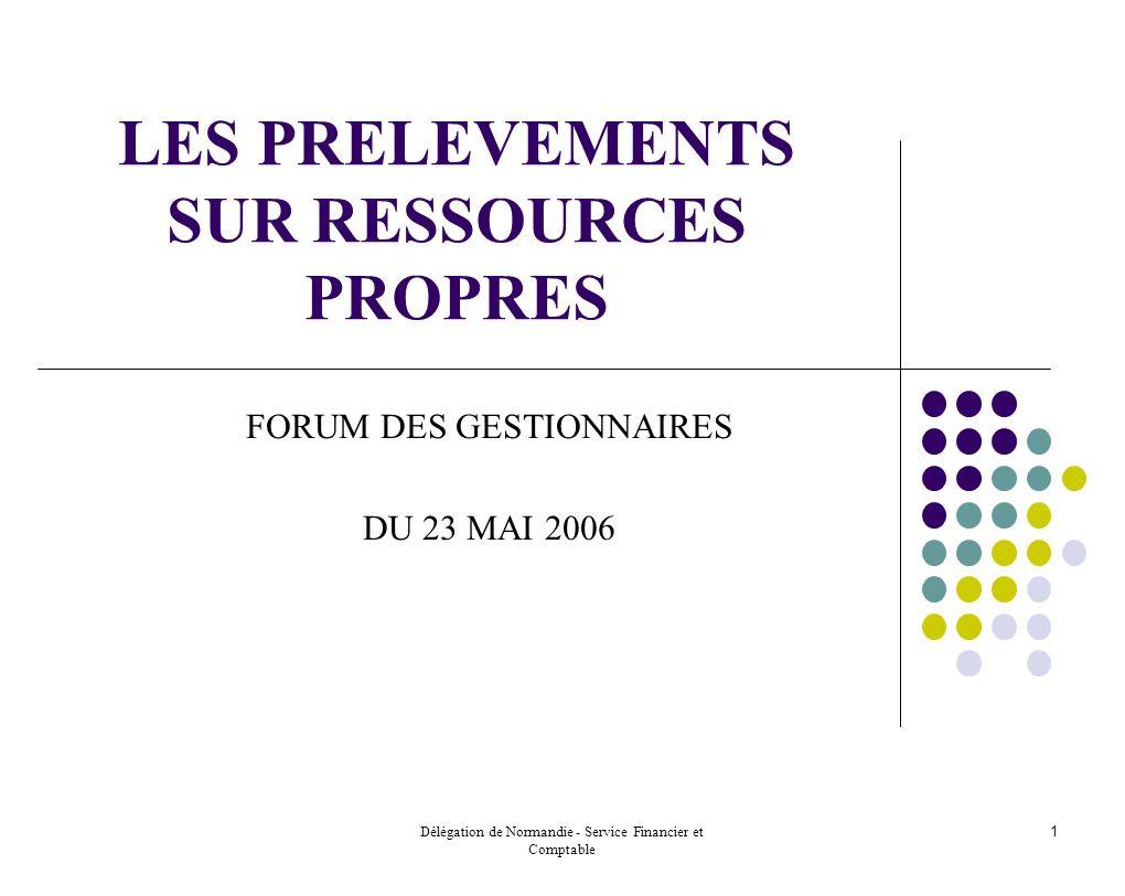 Délégation de Normandie - Service Financier et Comptable 1 LES PRELEVEMENTS SUR RESSOURCES PROPRES FORUM DES GESTIONNAIRES DU 23 MAI 2006