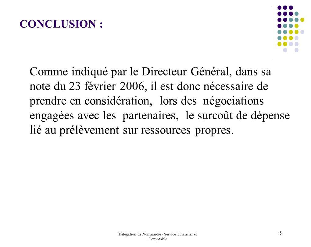 Délégation de Normandie - Service Financier et Comptable 15 CONCLUSION : Comme indiqué par le Directeur Général, dans sa note du 23 février 2006, il e