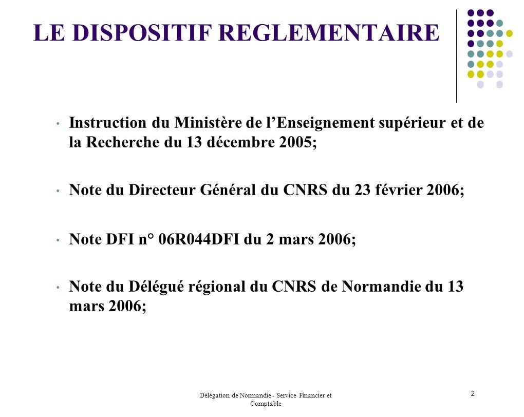 Délégation de Normandie - Service Financier et Comptable 2 LE DISPOSITIF REGLEMENTAIRE Instruction du Ministère de lEnseignement supérieur et de la Re