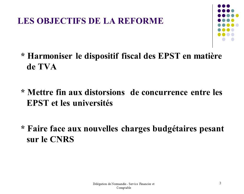Délégation de Normandie - Service Financier et Comptable 3 LES OBJECTIFS DE LA REFORME * Harmoniser le dispositif fiscal des EPST en matière de TVA *