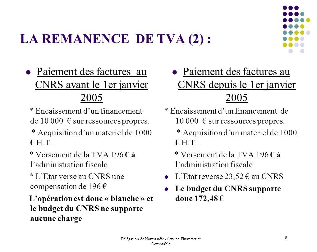 Délégation de Normandie - Service Financier et Comptable 6 LA REMANENCE DE TVA (2) : Paiement des factures au CNRS avant le 1er janvier 2005 * Encaiss