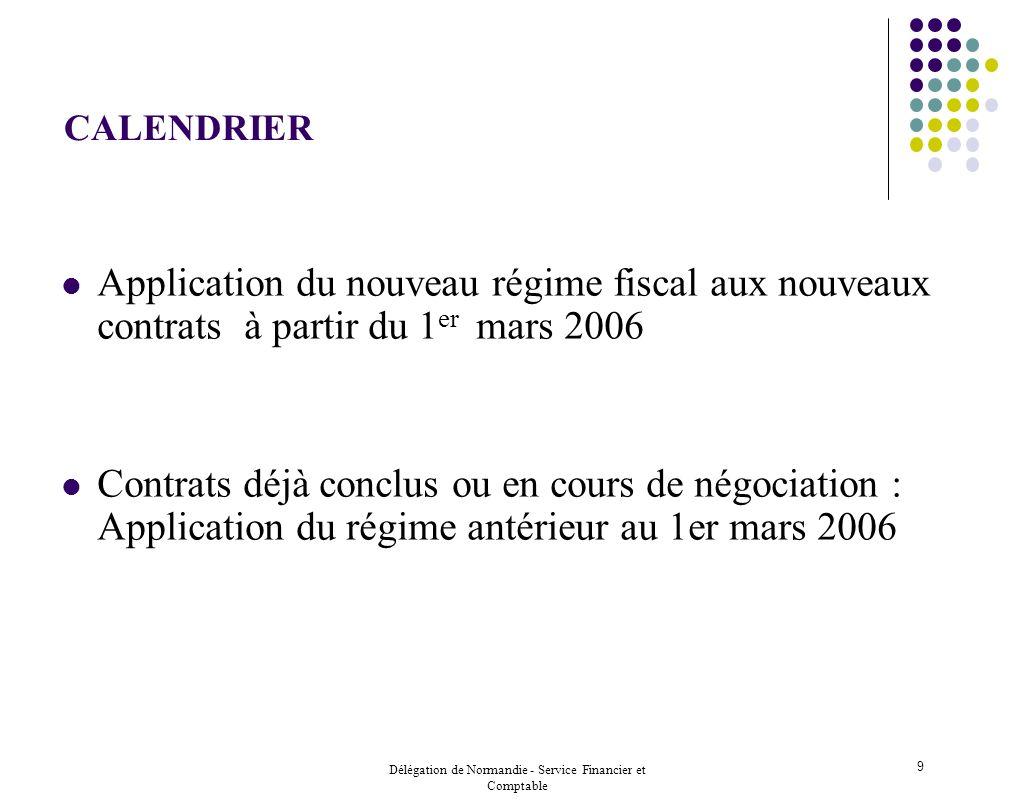 Délégation de Normandie - Service Financier et Comptable 9 CALENDRIER Application du nouveau régime fiscal aux nouveaux contrats à partir du 1 er mars