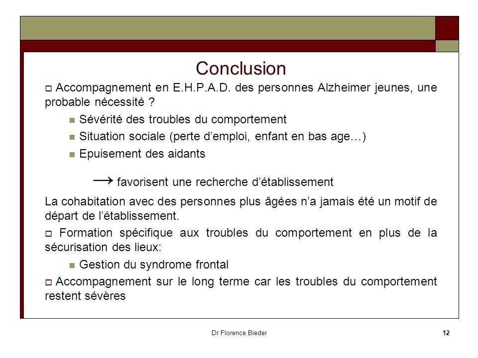 Dr Florence Bieder12 Conclusion Accompagnement en E.H.P.A.D. des personnes Alzheimer jeunes, une probable nécessité ? Sévérité des troubles du comport
