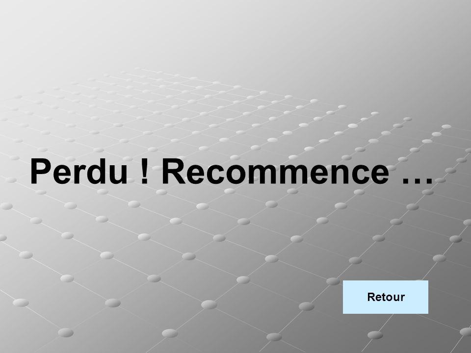 Perdu ! Recommence … Retour