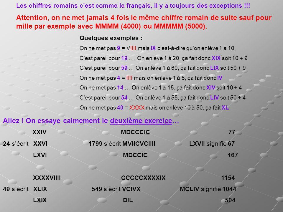 Les chiffres romains cest comme le français, il y a toujours des exceptions !!! Attention, on ne met jamais 4 fois le même chiffre romain de suite sau