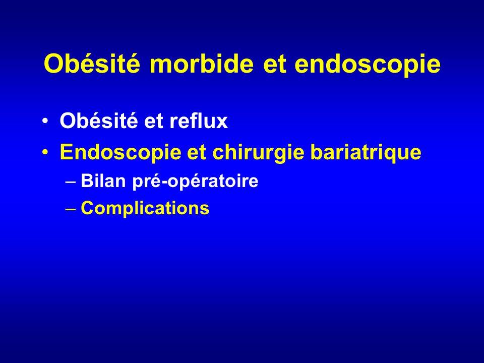 Obésité morbide et endoscopie Obésité et reflux Endoscopie et chirurgie bariatrique –Bilan pré-opératoire –Complications