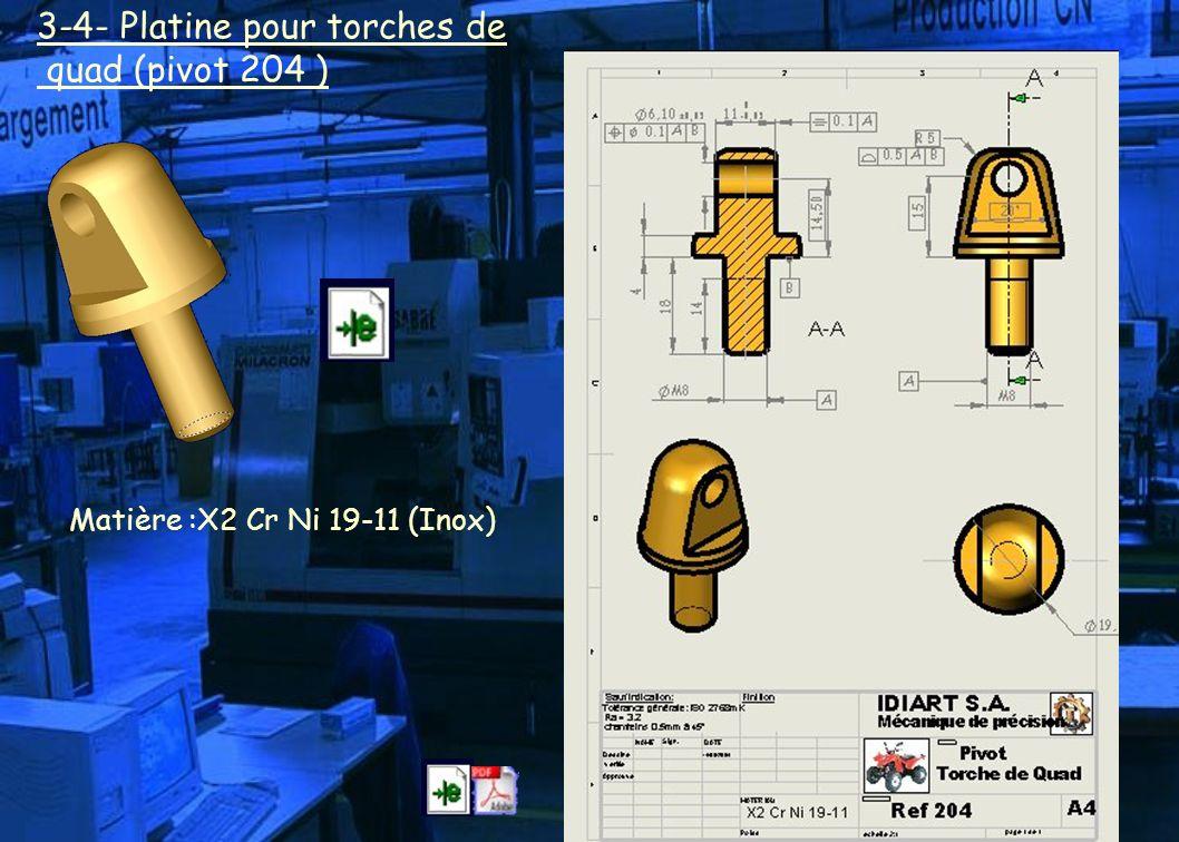 3-4- Platine pour torches de quad (pivot 204 ) Matière :X2 Cr Ni 19-11 (Inox)