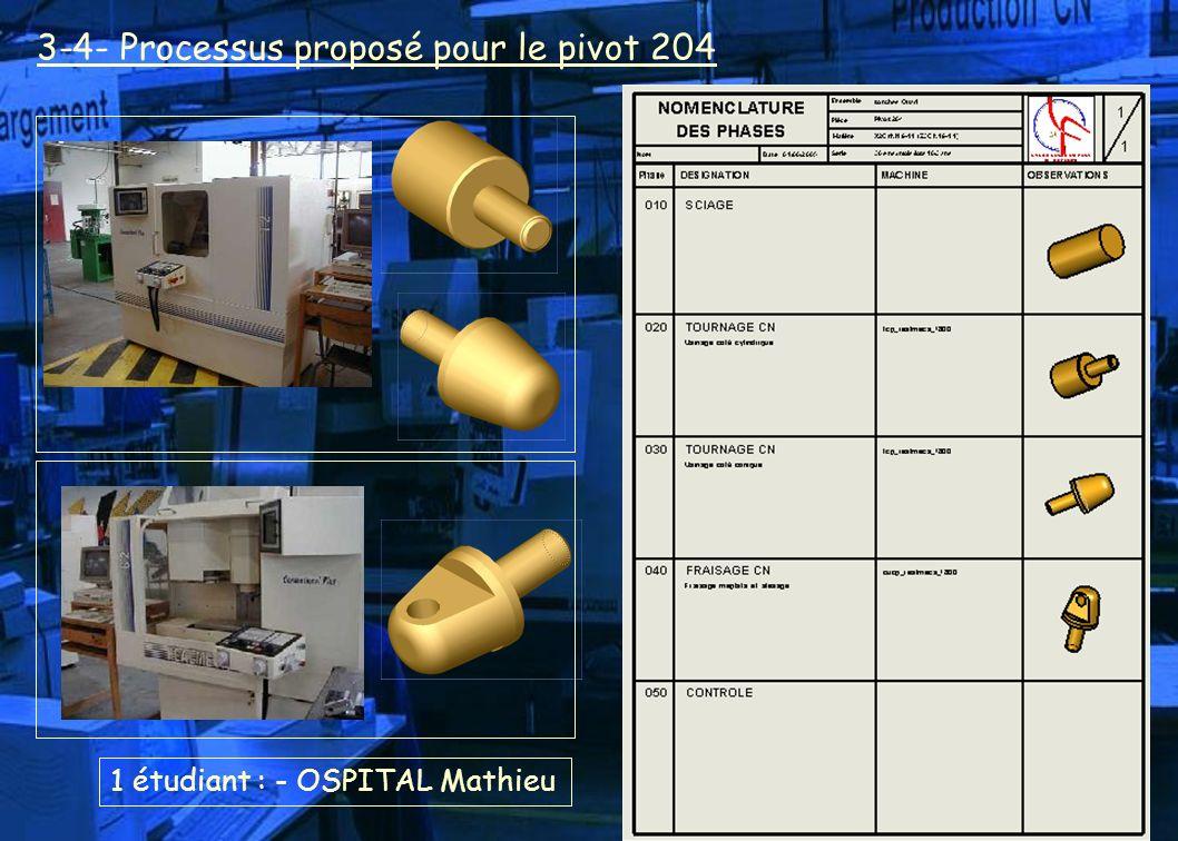 1 étudiant : - OSPITAL Mathieu 3-4- Processus proposé pour le pivot 204