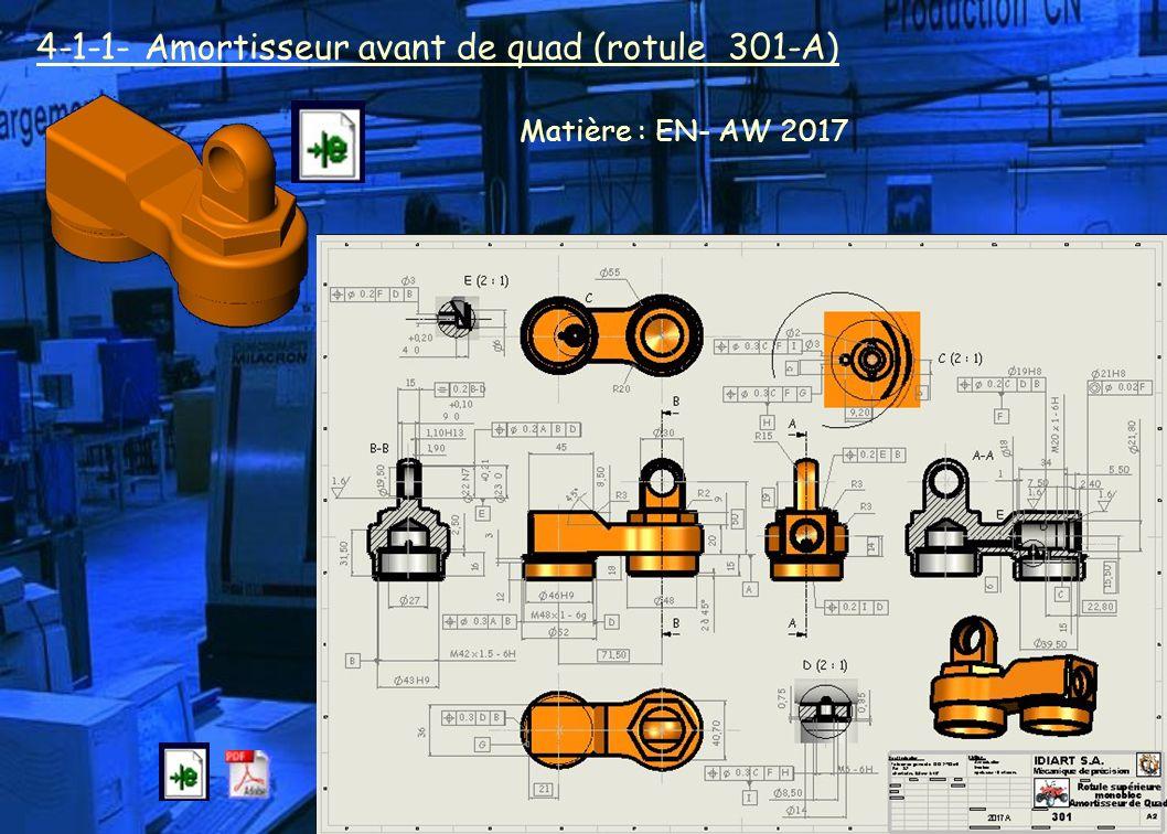 4-1-1- Amortisseur avant de quad (rotule 301-A) Matière : EN- AW 2017