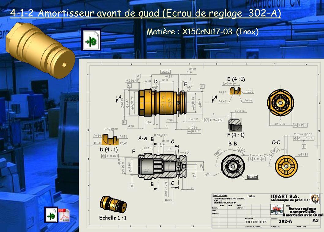 4-1-2 Amortisseur avant de quad (Ecrou de reglage 302-A) Matière : X15CrNi17-03 (Inox)