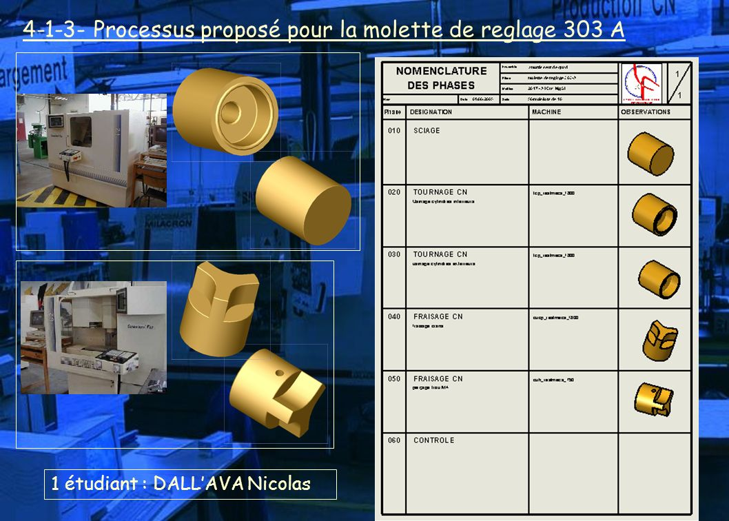 1 étudiant : DALLAVA Nicolas 4-1-3- Processus proposé pour la molette de reglage 303 A