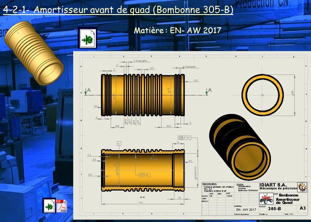 4-2-1- Amortisseur avant de quad (Bombonne 305-B) Matière : EN- AW 2017