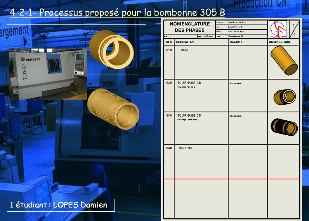 1 étudiant : LOPES Damien 4-2-1- Processus proposé pour la bombonne 305 B