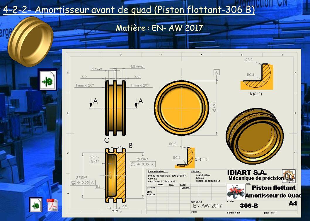 4-2-2- Amortisseur avant de quad (Piston flottant-306 B) Matière : EN- AW 2017