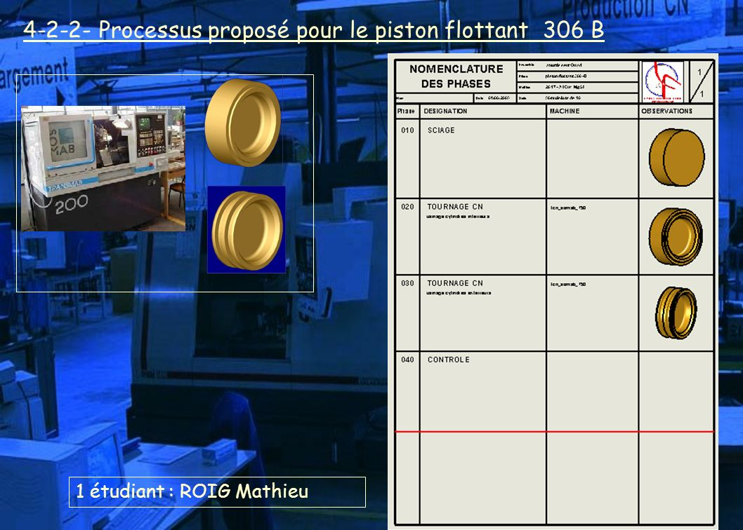 4-2-2- Processus proposé pour le piston flottant 306 B 1 étudiant : ROIG Mathieu